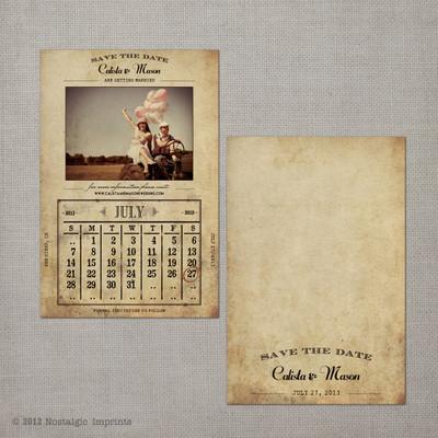 Calista - 4x6 Vintage Photo Save the Date Card calendar