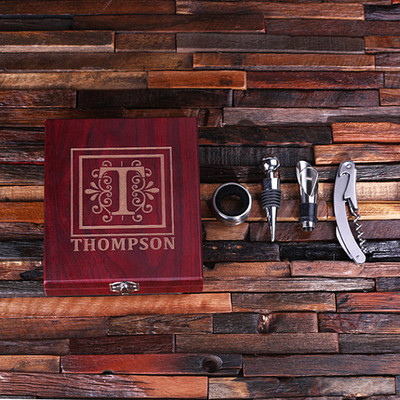 Groomsmen Bridesmaid Gift Personalized 5 Piece Wine Accessory Toolkit