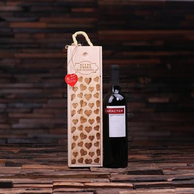 Groomsmen Bridesmaid Gift Personalized Valentines Day Wood Wine Box