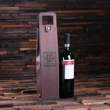 Groomsmen Bridesmaid Gift Personalized Single Bottle Wine Holder Pouch – Brown Leather