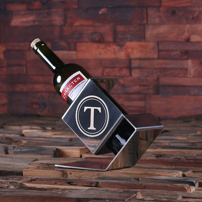 Groomsmen Bridesmaid Gift Personalized Engraved Monogrammed Stainless Steel Wine Bottle Holder His and Her Wedding Gift House Warming Gift or Holiday Gifts