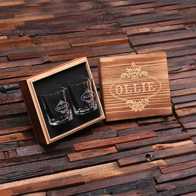 Groomsmen Bridesmaid Gift Personalized Engraved Shot Glasses with Keepsake Box – Set of 2