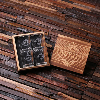 Groomsmen Bridesmaid Gift Personalized Engraved Shot Glasses with Keepsake Box – Set of 4
