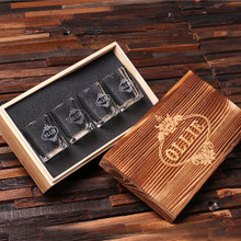 Groomsmen Bridesmaid Gift Personalized Engraved Shot Glasses with Keepsake Box – Set of 4