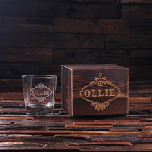 Groomsmen Bridesmaid Gift Personalized Whiskey Scotch Glass Set with Wood Box Gift