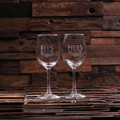 Groomsmen Bridesmaid Gift Personalized His and Her Wine Glass Set