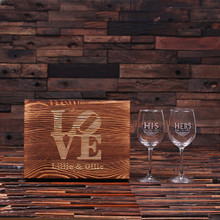 Groomsmen Bridesmaid Gift Personalized His and Her Wine Glass Set with Wood Box