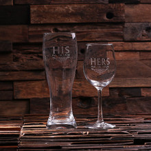 Groomsmen Bridesmaid Gift Personalized His and Hers Mr. and Mrs. Wine Glass and Beer Glass