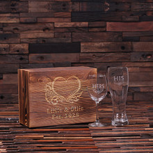 Groomsmen Bridesmaid Gift Personalized His and Hers Mr. and Mrs. Wine Glass and Beer Glass With Wood Gift Box