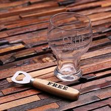Groomsmen Bridesmaid Gift Personalized 16 oz. Beer Glass Mug with Wood Bottle Opener