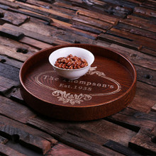 Groomsmen Bridesmaid Gift Personalized Wood Serving Tray – Round