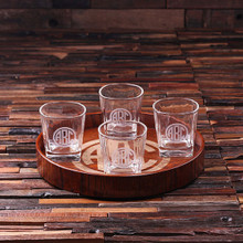 Groomsmen Bridesmaid Gift Personalized Bar Tray Set – Grand Tray Set with 4 Glasses