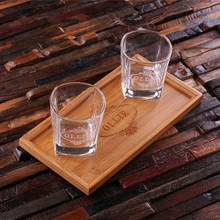 Groomsmen Bridesmaid Gift Personalized Bar Tray Set with 2 Whiskey Glasses