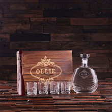 Groomsmen Bridesmaid Gift Personalized 4 Piece Mens Gift Set with Keepsake Box – Decanter Shot Glasses Shoe Horn