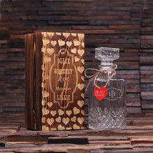 Groomsmen Bridesmaid Gift Personalized Valentines Day Whiskey Decanter with Wood Gift Box