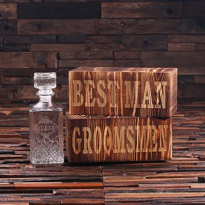 Groomsmen Bridesmaid Gift Personalized Whiskey Decanter with Keepsake Box