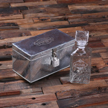 Groomsmen Bridesmaid Gift Personalized Whiskey Decanter and Metal Case with Lock