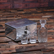Groomsmen Bridesmaid Gift Personalized Decanter, Whiskey Glasses and Steel box with Lock