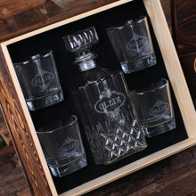 Groomsmen Bridesmaid Gift Personalized Whiskey Decanter 4 Whiskey Glasses and Wood Box