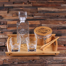 Groomsmen Bridesmaid Gift Personalized Whiskey Decanter Set with Ice Bucket with Tongs Whiskey Glasses Wood Tray