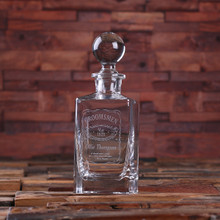 Groomsmen Bridesmaid Gift Personalized Whiskey Decanter with Global Bottle Lid – B