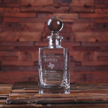 Groomsmen Bridesmaid Gift Personalized Whiskey Decanter with Global Bottle Lid – D