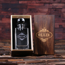 Groomsmen Bridesmaid Gift Personalized Whiskey Decanter with Global Bottle Lid and Wood Box