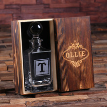 Groomsmen Bridesmaid Gift Personalized Whiskey Decanter with Global Bottle Lid and Wood Box – F
