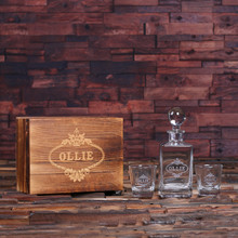 Groomsmen Bridesmaid Gift Personalized Whiskey Decanter with Global Bottle Lid 2 Whiskey Glasses and Wood Box – B