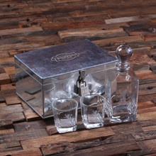 Groomsmen Bridesmaid Gift Personalized Whiskey Decanter with Global Bottle Lid 2 Whiskey Glasses and Metal Case with Lock