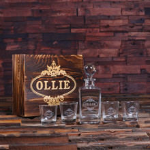 Groomsmen Bridesmaid Gift Personalized Whiskey Decanter with Global Bottle Lid 4 Whiskey Glasses and Wood Box – B