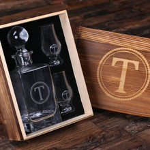 Groomsmen Bridesmaid Gift Personalized Whiskey Decanter with Global Bottle Lid 2 Whiskey Sniffers and Wood Box