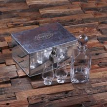 Groomsmen Bridesmaid Gift Personalized Decanter Whiskey Sniffers and Steel box with Lock