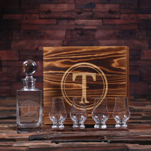 Groomsmen Bridesmaid Gift Personalized Whiskey Decanter with Global Bottle Lid 4 Whiskey Sniffers and Wood Box