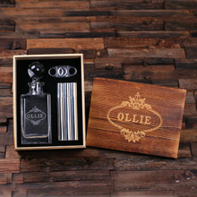 Groomsmen Bridesmaid Gift Personalized Whiskey Decanter with Global Bottle Lid Metal Cigar Cutter Cigar Holder Case with Whiskey Flask and Wood Box