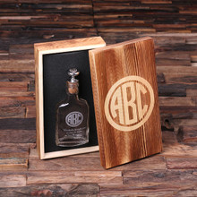 Groomsmen Bridesmaid Gift Personalized Vintage Style Whiskey Flask with Wood Gift Box