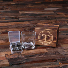 Groomsmen Bridesmaid Gift Personalized Whiskey Scotch Glass Set Stainless Steel Ice-Cubes with Wood Box