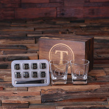 Groomsmen Bridesmaid Gift Personalized Whiskey Scotch Glasses 8 Ice-Cubs with Wood Box
