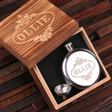 Groomsmen Bridesmaid Gift Personalized Stainless Steel Flask – 5 oz. Round with Wood Box