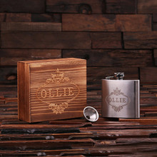 Groomsmen Bridesmaid Gift Personalized Stainless Steel Flask – 5 oz. with Wood Box
