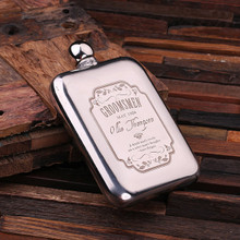 Groomsmen Bridesmaid Gift Personalized Stainless Steel Flask – 6 oz.
