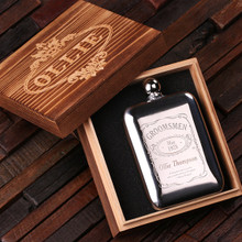 Groomsmen Bridesmaid Gift Personalized Stainless Steel Flask – 6 oz. with Wood Box