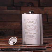 Groomsmen Bridesmaid Gift Personalized Stainless Steel Flask – 8 oz.