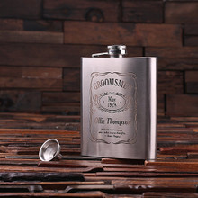 Groomsmen Bridesmaid Gift Personalized Stainless Steel Flask – 18 oz.