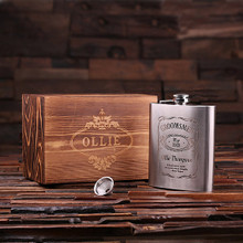 Groomsmen Bridesmaid Gift Personalized Stainless Steel Flask – 18 oz. with Wood Box