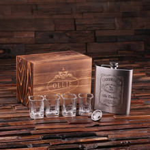 Groomsmen Bridesmaid Gift Personalized 4 Piece. gift Set – 18 oz. Flask with Funnel 4 Shot Glasses and Keepsake Box