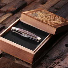 Groomsmen Bridesmaid Gift Personalized 3-Blade Pocket Knife with box