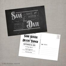 Sadie - 4x6 Vintage Save the Date Postcard card chalkboard
