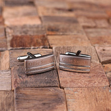 Groomsmen Bridesmaid Gift Personalized Engraved Cuff Links – Classic Rectangular