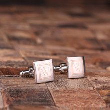 Groomsmen Bridesmaid Gift Personalized Engraved Cuff Links – Classic Square